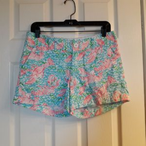 Lilly Pulitzer Spa Blue Lobstah Roll Callahan Short Size 4