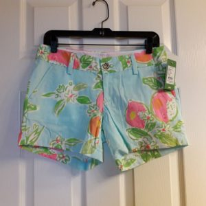 Lilly Pulitzer Pool Blue Pink Lemonade Callahan Short Size 2