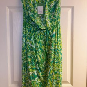 Lilly Pulitzer Fresh Citrus Green Parrot Windsor Strapless Dress XS