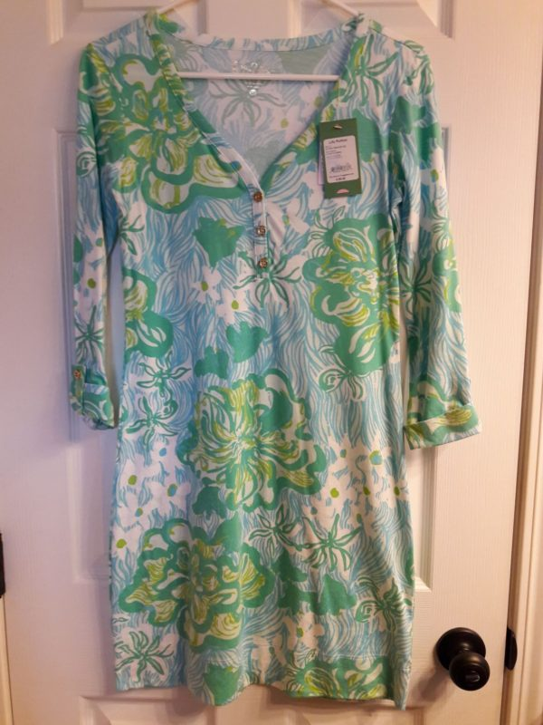 Lilly Pulitzer Lagoon Green Wave Rider Palmetto Dress XS